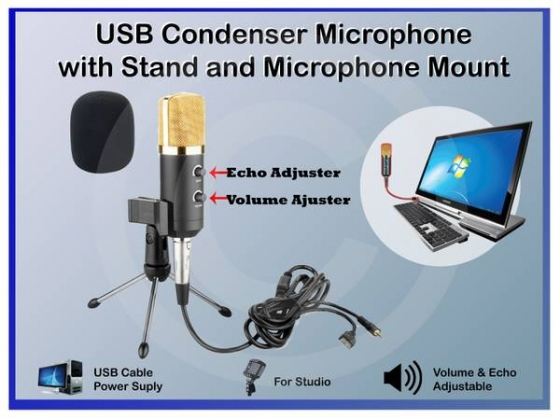 Professional Recording USB Podcast Condenser Microphone with Stand - $55 (Glendale)