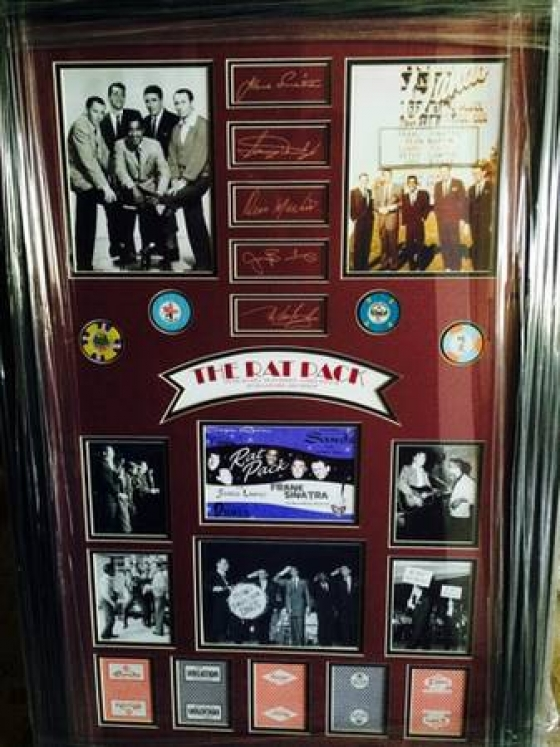 Framed Rat Pack Memorabilia Collage/Shadow Box