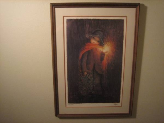 Child Holding Glowing Light - Lithograph - Numbered 366/475 - Signed
