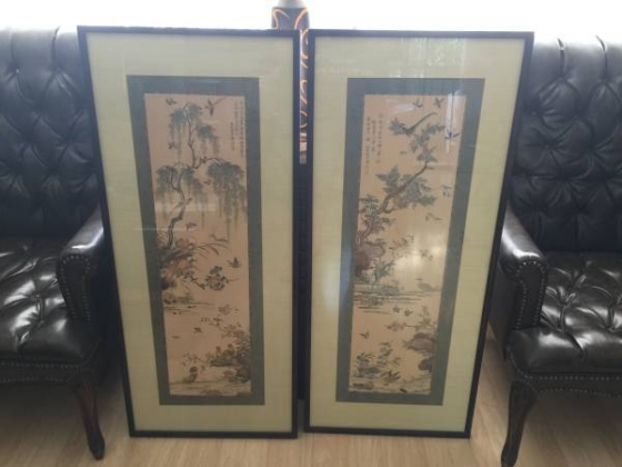 Pair of Large Chinese Bird Themed Screen Prints