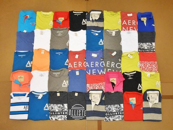 $5.22, Wholesale 40 pcs. Original Abercrombie, Hollister, AE Women t-shirt 50%, Free Shipping ($4.97 each)