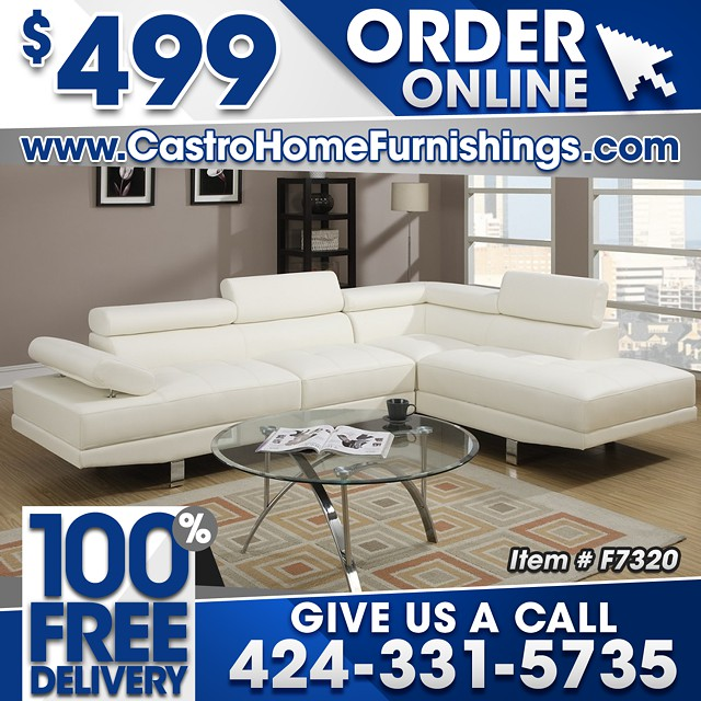 $499, Lux White Leather Modern Sofa Sectional - 100% FREE DELIVERY!