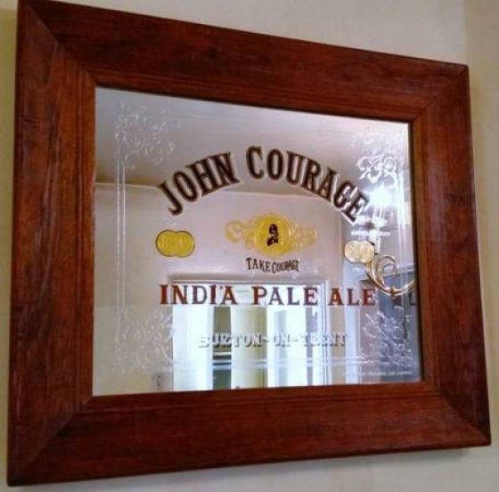 JOHN COURAGE INDIA PALE ALE BEER BAR MIRROR -- VINTAGE -- ANTIQUE - RARE
