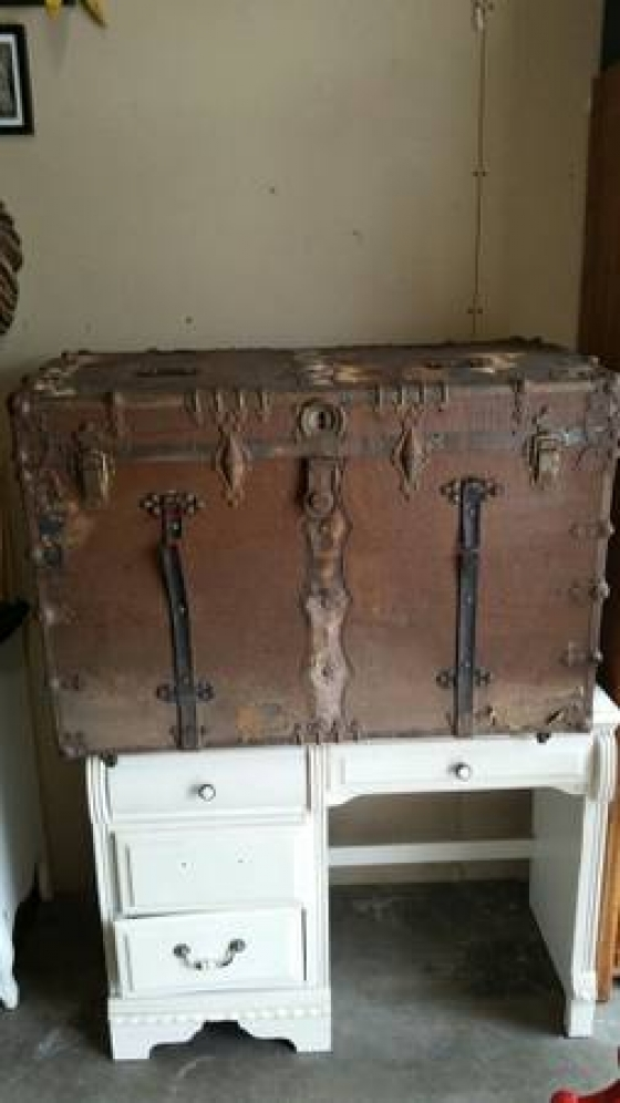 Huge Early 1800\\\'s Plantation Trunk