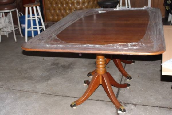 STICKLEY Duncan Branded Double Pedestal 4 Leafs Dining TABLE CIRCA1955