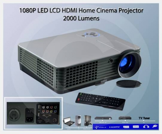 HDMI 1080P LED LCD Home Cinema Theater Projector 2000 Lumens